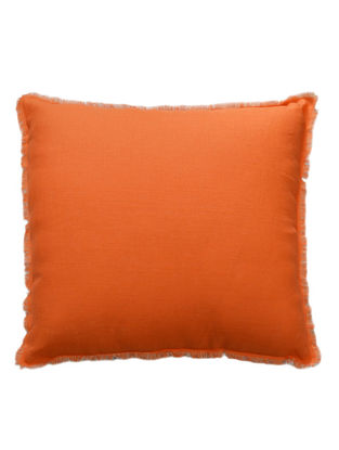 Orange-Ivory Solid with Fringes Linen Cushion Cover 18in x 18in