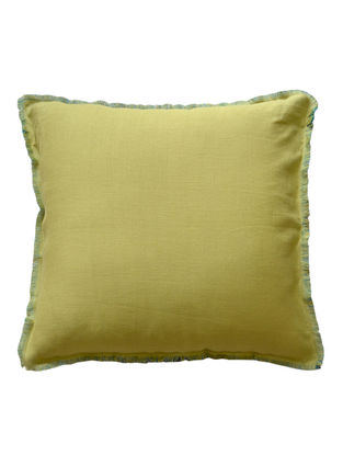 Lime-Turquoise Solid with Fringes Linen Cushion Cover 18in x 18in