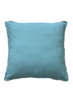 Blue-Grey Solid with Fringes Linen Cushion Cover 18in x 18in