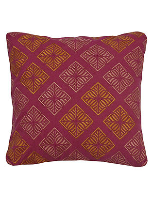 Pink-Orange Cotton Samoa - Mosaic Embroidered Cushion Cover 12in x 12in