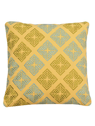 Yellow-Green Cotton Samoa - Mosaic Embroidered Cushion Cover 12in x 12in
