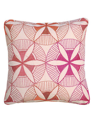 Pink-Orange Cotton Samoa - Floral Ornament Embroidered Cushion Cover 12in x 12in