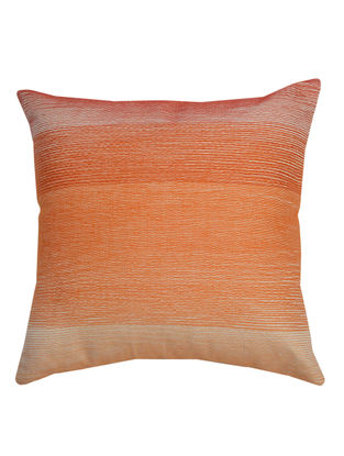 Pink-Orange Cotton Embroidered Calypso - Strokes Pattern Cushion Cover 12in x 12in