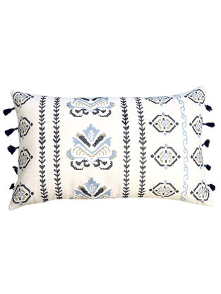 Off White Cotton Embroidered Amalti - Criss Cross Border Cushion Cover 19.5in x 12in