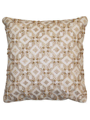 Cream Cotton Petra - Kaleidoscope with All Over Damru Beaded Work Cushion Cover 12in x 12in