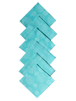 Aqua Cotton All Over Printed Batik Tiny Flowers Cocktail Napkins (Set of 6) 10in x 10in