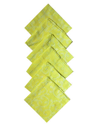 Lime Cotton All Over Printed Batik Trellis Cocktail Napkins (Set of 6) 10in x 10in