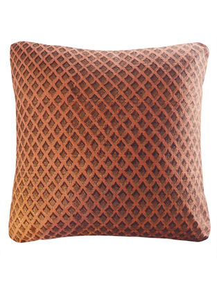 Metallic Pigment Diamond Overlap Block Printed Cushion Cover By Yamini