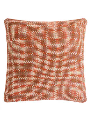 Metallic Pigment Grid Design Block Printed Cushion Cover By Yamini