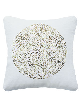 Off-White Eclipse Hand Embroidered Matka Silk cushion cover 15.7in x 15.7in