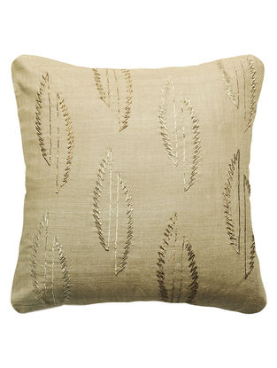 Khaki Urban Garden Silk Hand Embroidered Cushion Cover 16in x 16in