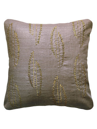 Grey Urban Garden Silk Hand Embroidered Cushion Cover 16in x 16in