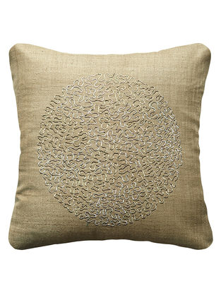Khaki Eclipse Hand Embroidered Silk Cushion Cover 16in x 16in
