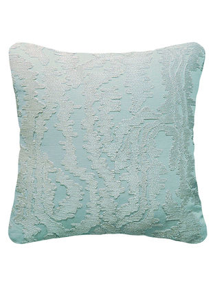 Light Blue Abstract embroidered Cotton Linen Cushion Cover 15.5in x 15.5in