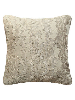 Beige Cotton Linen Abstract Embroidered Cushion Cover 16in x 16in