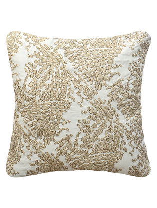 Off-White Pebbles embroidered Cotton Linen Cushion Cover 12in x 12in