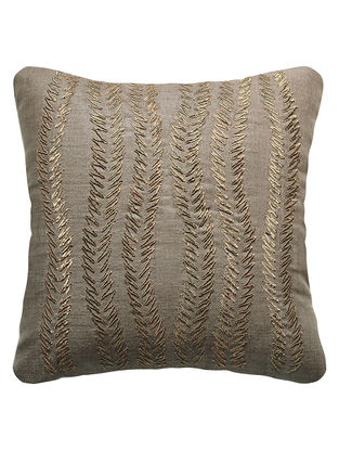 Grey Urban Garden Silk Hand Embroidered Cushion Cover 12in x 12in