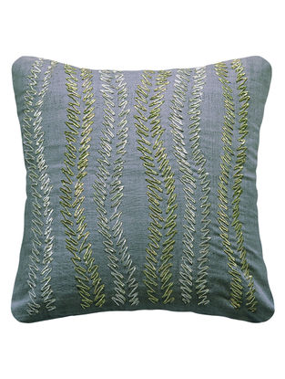 Taupe Urban Garden Silk Hand Embroidered Cushion Cover 12in x 12in