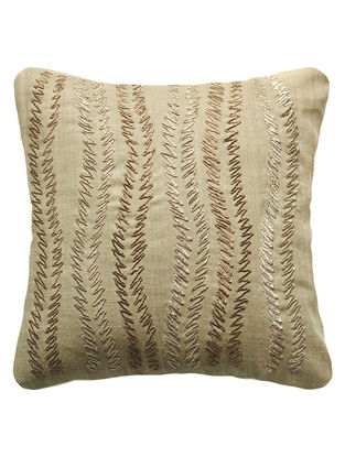 Khaki Urban Garden Silk Hand Embroidered Cushion Cover 12in x 12in