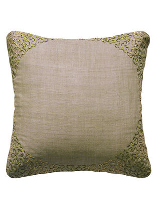 Khaki Reverse Eclipse Hand Embroidered Matka Silk Cushion Cover 12in x 12in