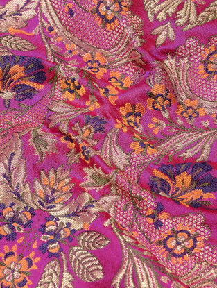 Pink-Orange Benarasi Kimkhwab Brocade Fabric