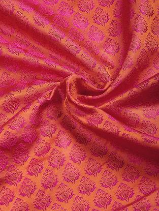 Orange-Pink Benarasi Katan Silk Fabric