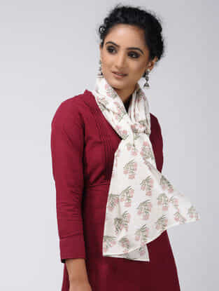 Ivory-Pink Block-printed Cotton Stole