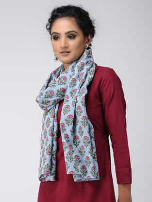 Blue-Pink Block-printed Cotton Stole