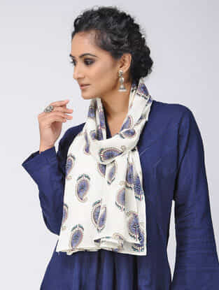 Ivory-Blue Block-printed Cotton Stole