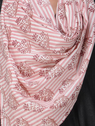 Pink-Ivory Block-printed Cotton Stole