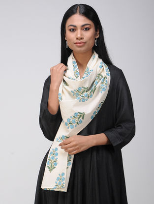 Ivory-Turquoise Block-printed Cotton Stole