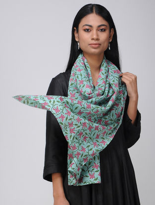 Turquoise-Pink Block-printed Cotton Stole