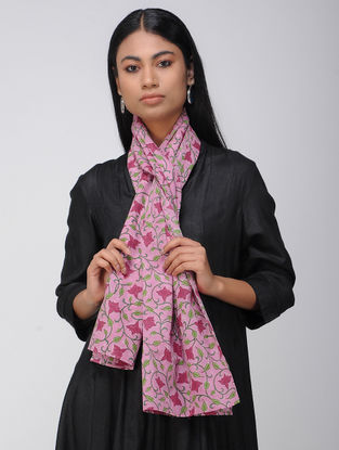 Pink-Green Block-printed Cotton Stole