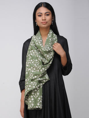 Green-Ivory Block-printed Cotton Stole