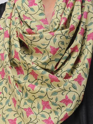 Green-Pink Block-printed Cotton Stole