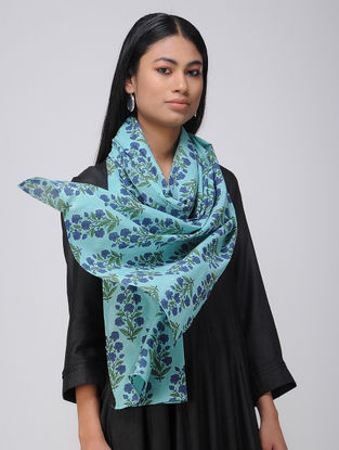 Turquoise-Green Block-printed Cotton Stole