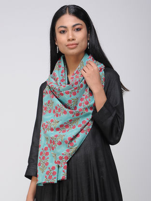 Turquoise-Red Block-printed Cotton Stole