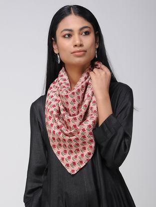 Pink-Red Block-printed Cotton Scarf