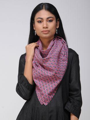 Pink-Green Block-printed Cotton Scarf