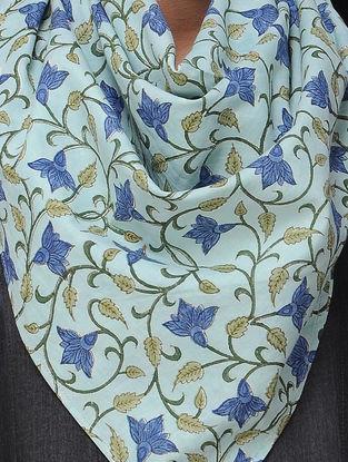 Blue-Green Block-printed Cotton Scarf