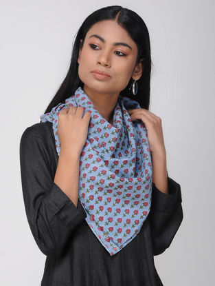 Blue-Red Block-printed Cotton Scarf