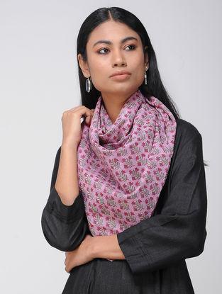 Pink-Grey Block-printed Cotton Scarf