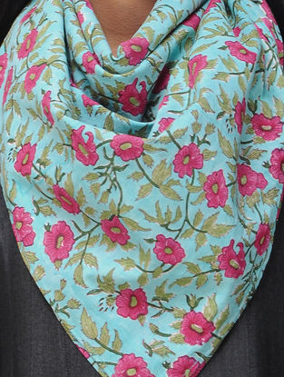Turquoise-Pink Block-printed Cotton Scarf