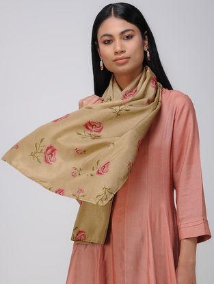 Beige-Pink Block-printed Khadi Silk Stole