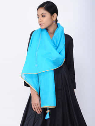 Blue Printed Chanderi Stole with Tassels