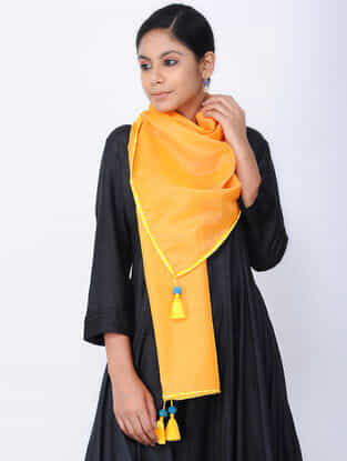 Yellow Chanderi Stole with Tassels