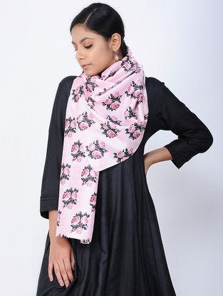 Pink-Black Printed Linen Silk Stole