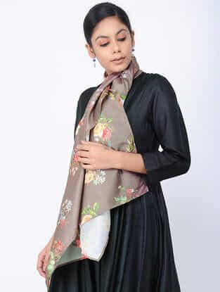 Grey-Green Printed Linen Silk Stole