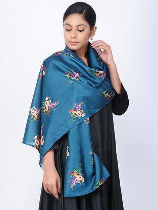 Blue-Ivory Printed Linen Silk Stole