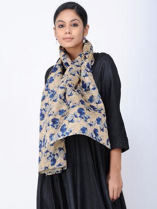 Beige-Blue Printed Khadi Silk Stole